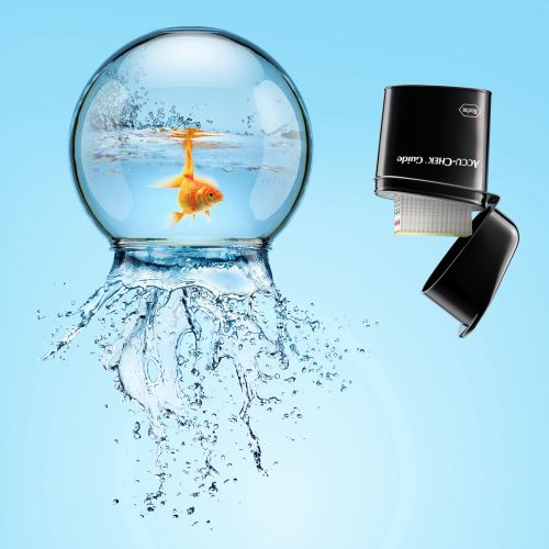 Realistic Fishbowl illustration for Accu Chek medical test strips product