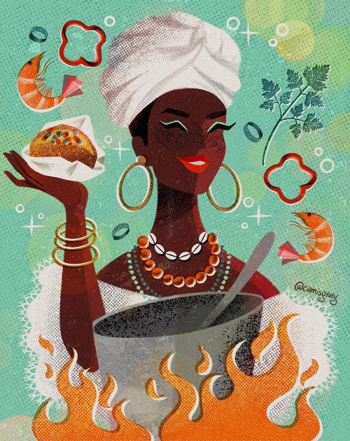 Chef cocinando ilustración de comida