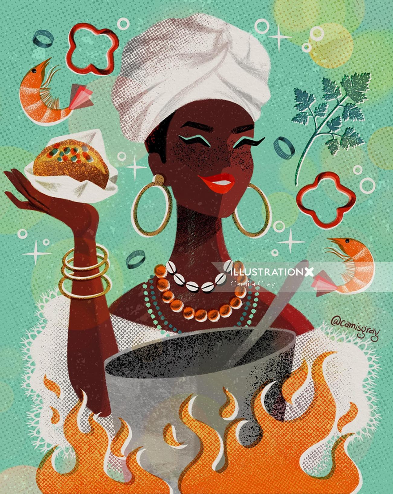 Chef cooking food illustration
