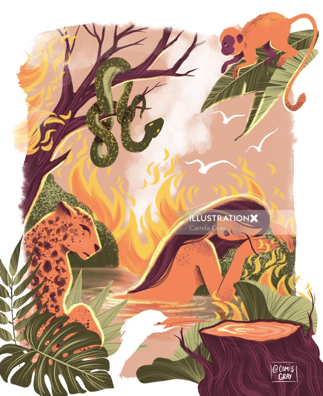 Conceptual illustration on wild life