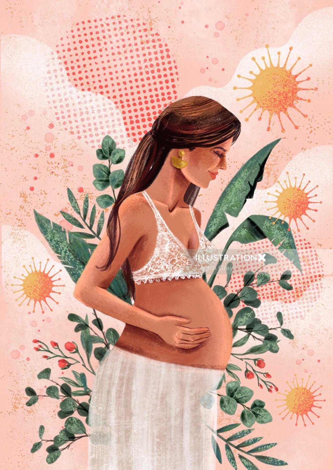 Pregnant woman illustration