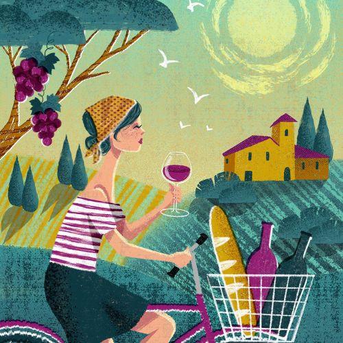 Editorial illustration of women drinking wine