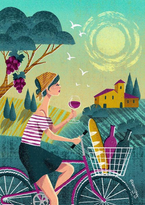 Ilustración editorial de mujeres bebiendo vino.