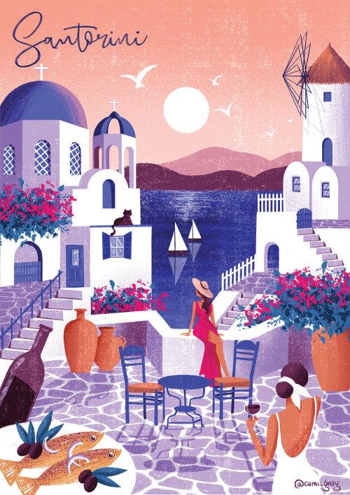 Edificios de arquitectura de la isla de Santorini
