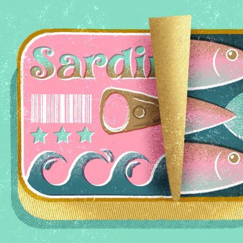 Fish packaging illustration