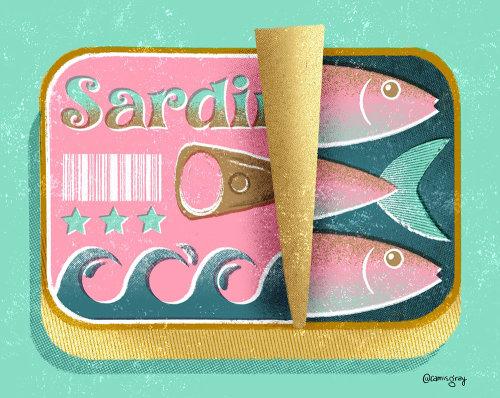 Ilustración de empaque de pescado