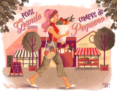 pintura de mujer caminando con verduras