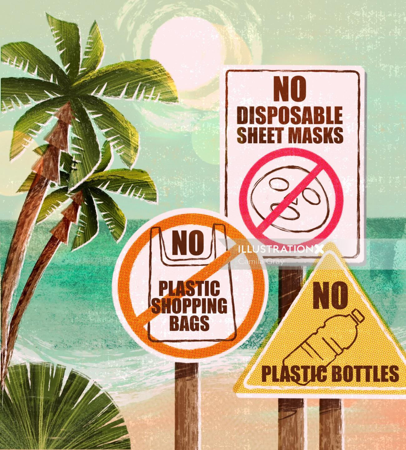 Signboards lettering illustration