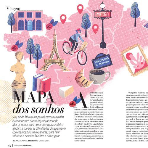 Paris map illustration for Claudia magazine