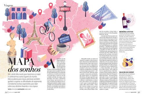 Ilustración del mapa de París para la revista Claudia