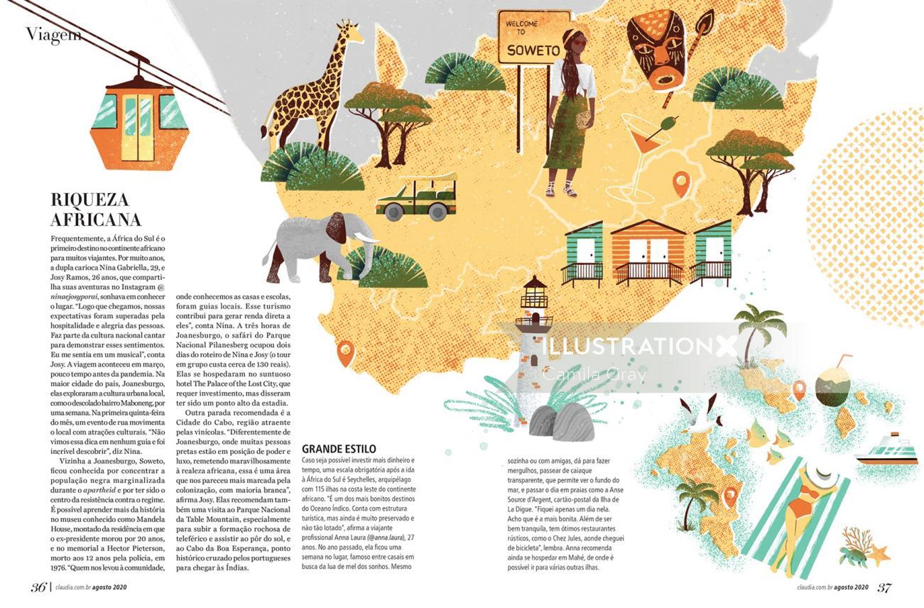 Soweto tourism map illustration