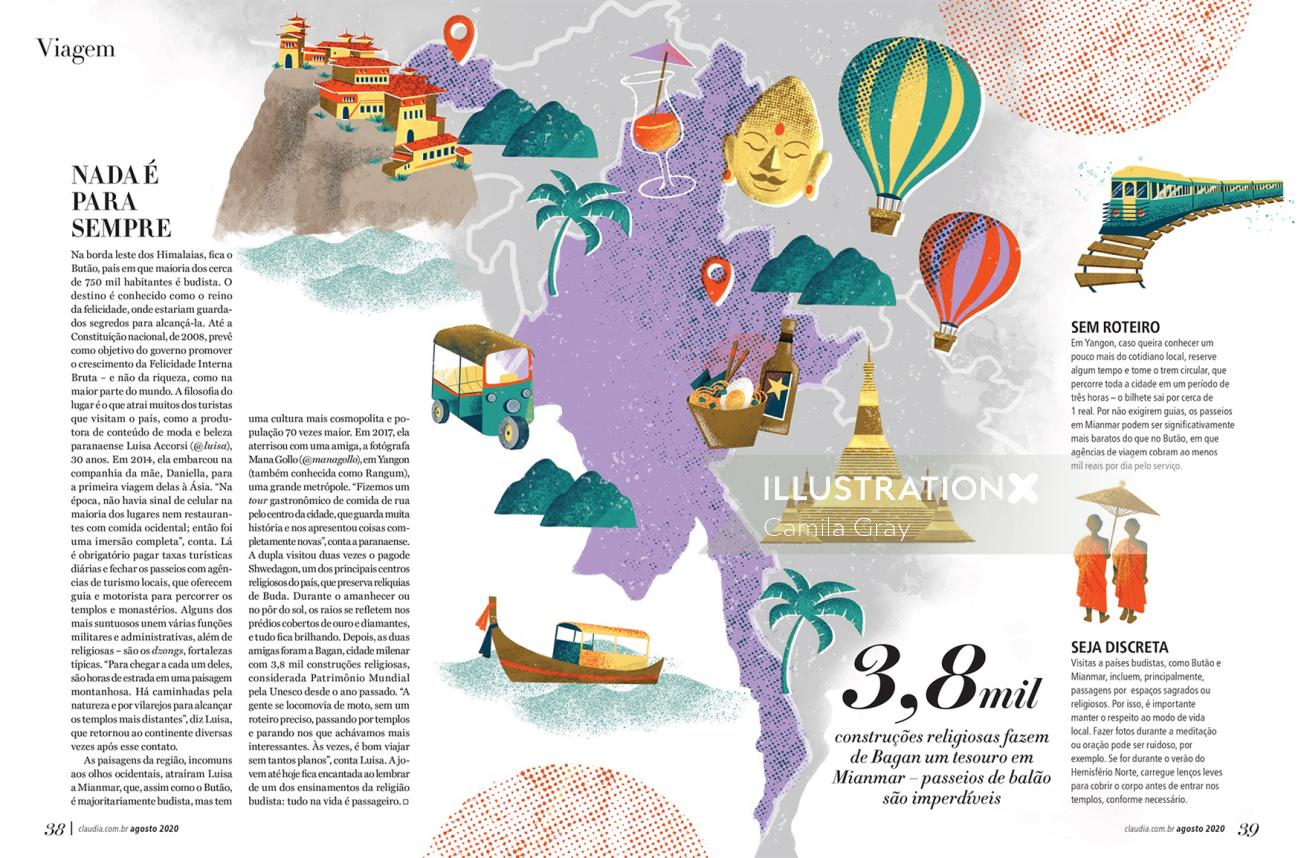Editorial illustration of Viagem tourism