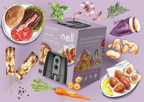 Ilustración de empaque de Nell Air Firer