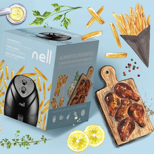 food illustration for a air firer package