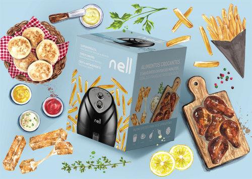 ilustración de comida para un paquete air firer