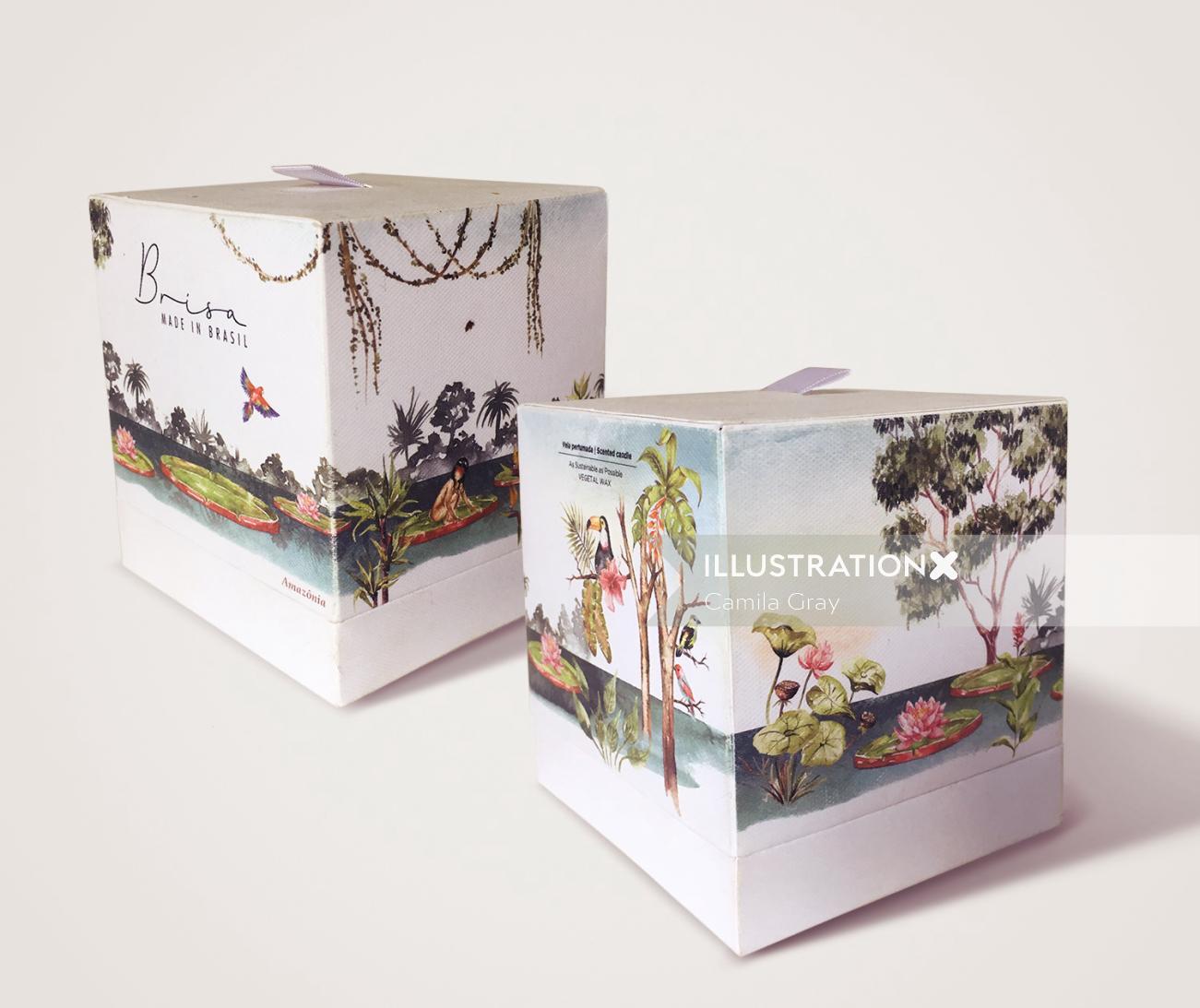Amazonia's rainforest candle packaging illustration
