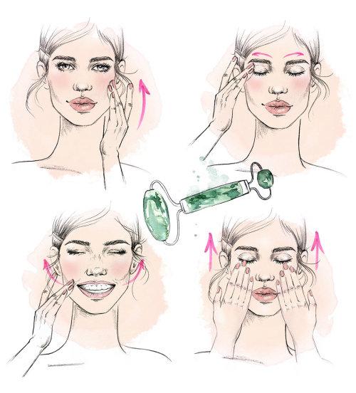 Ilustración editorial de masaje facial de mujeres.