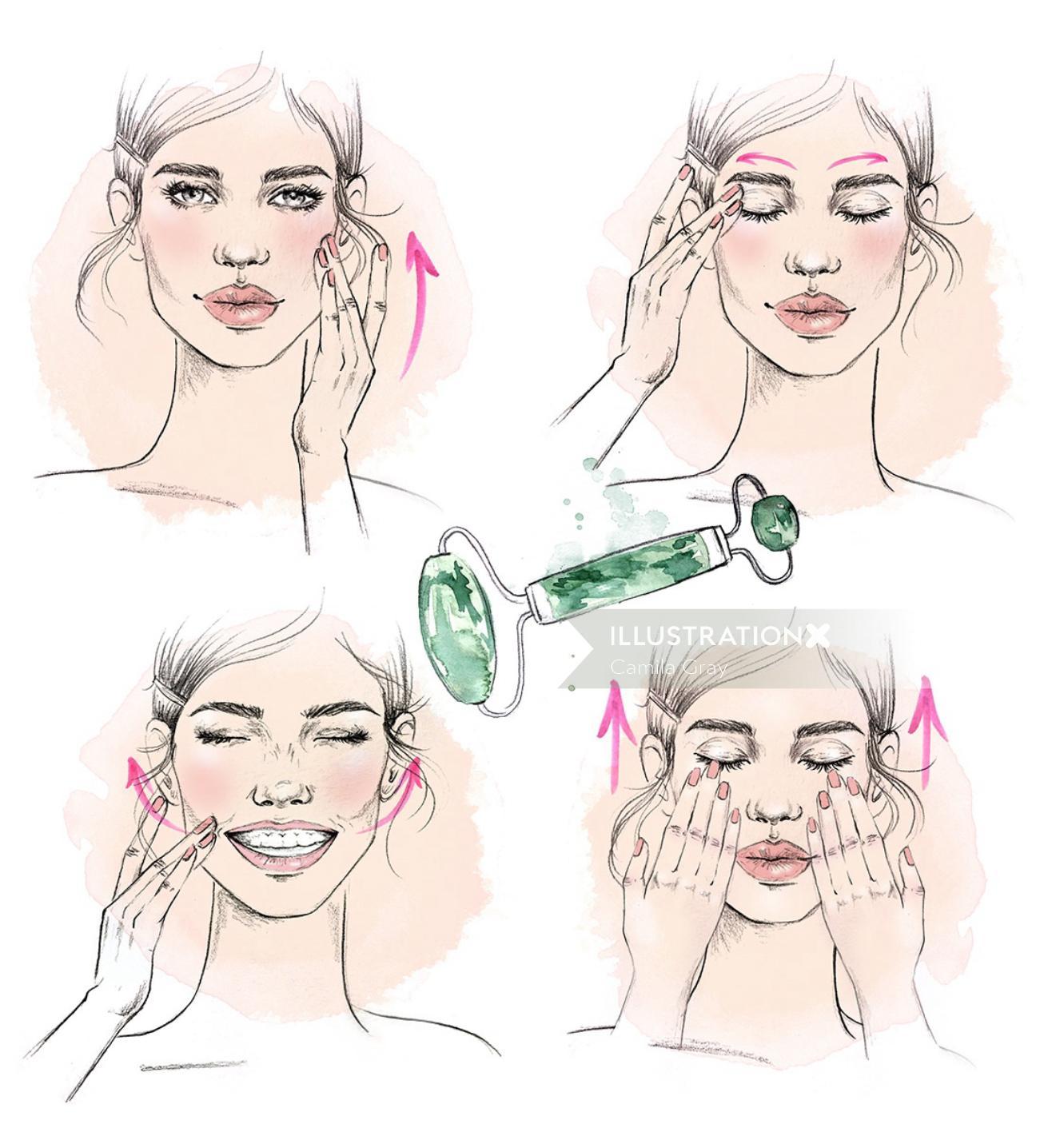 Women facial massage editorial illustration