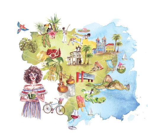 Mapa ilustrado por Camila Gray