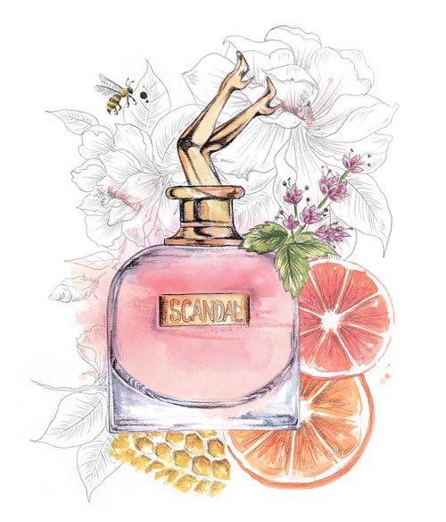 Ilustración decorativa para el frasco de perfume de Scandal
