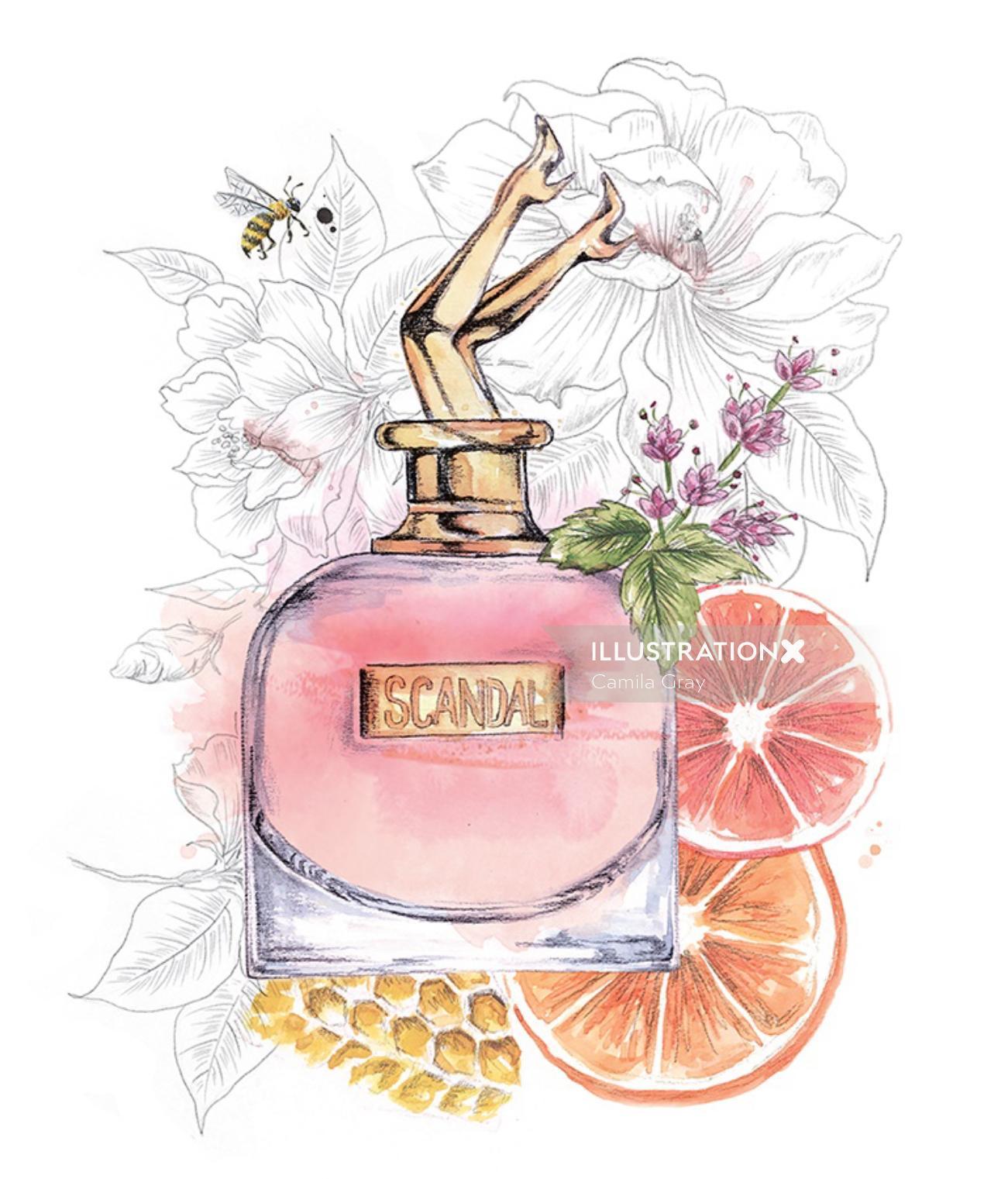 Decorative illustration for Scandal's perfume bottle
