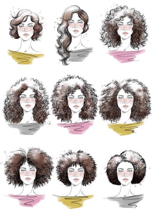 Retrato de rostro de chicas de estilo de pelo rizado