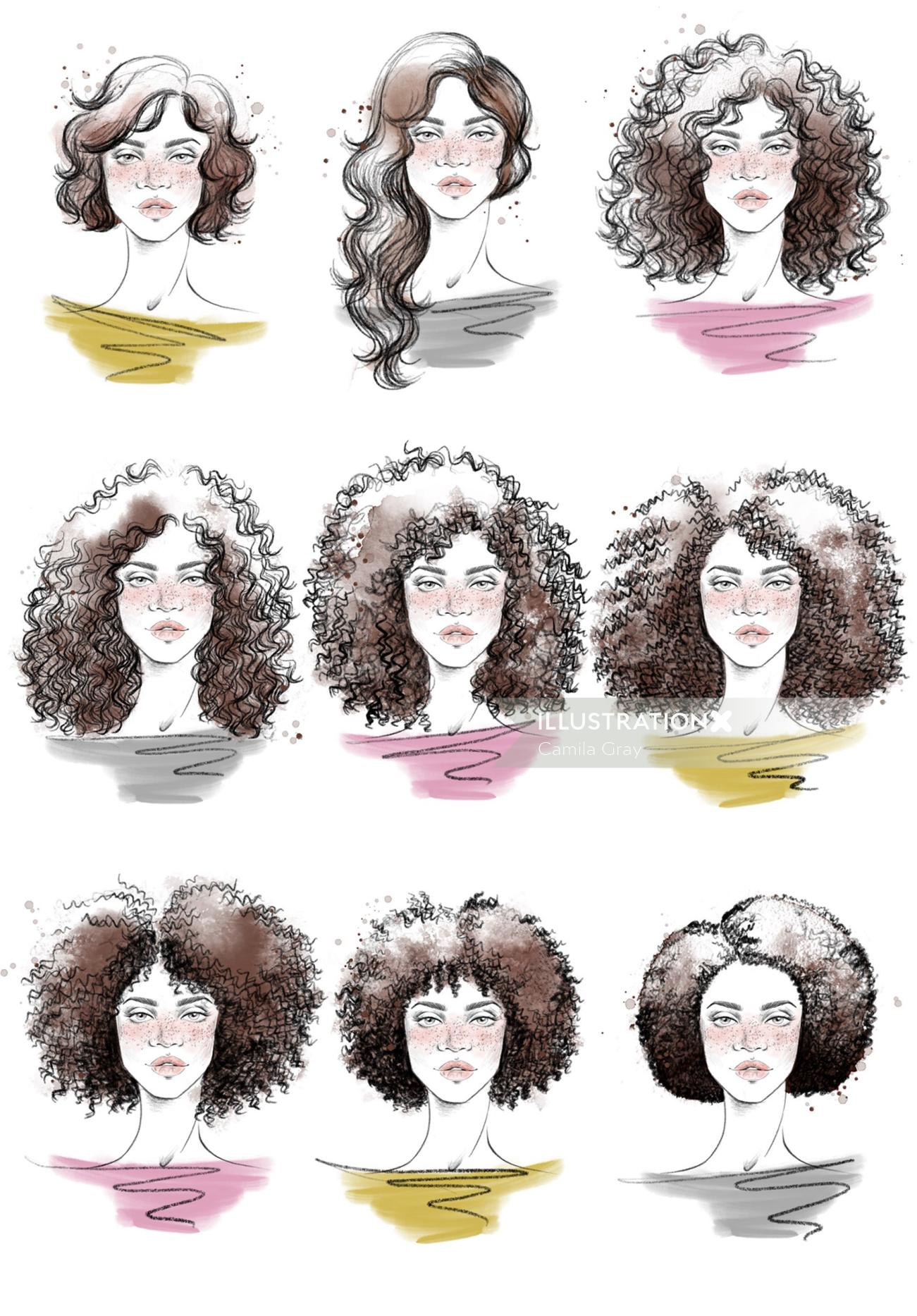Face portrait of curly hair style girls