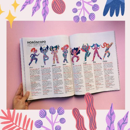 Illustrations for the April horoscope of Oh Lala magazine