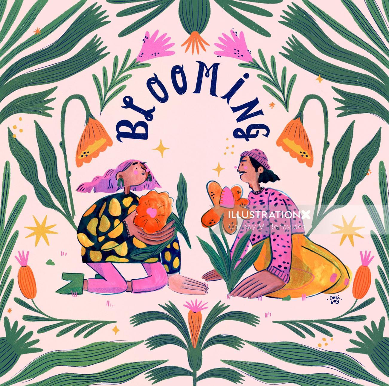 Digital painting of Blooming season