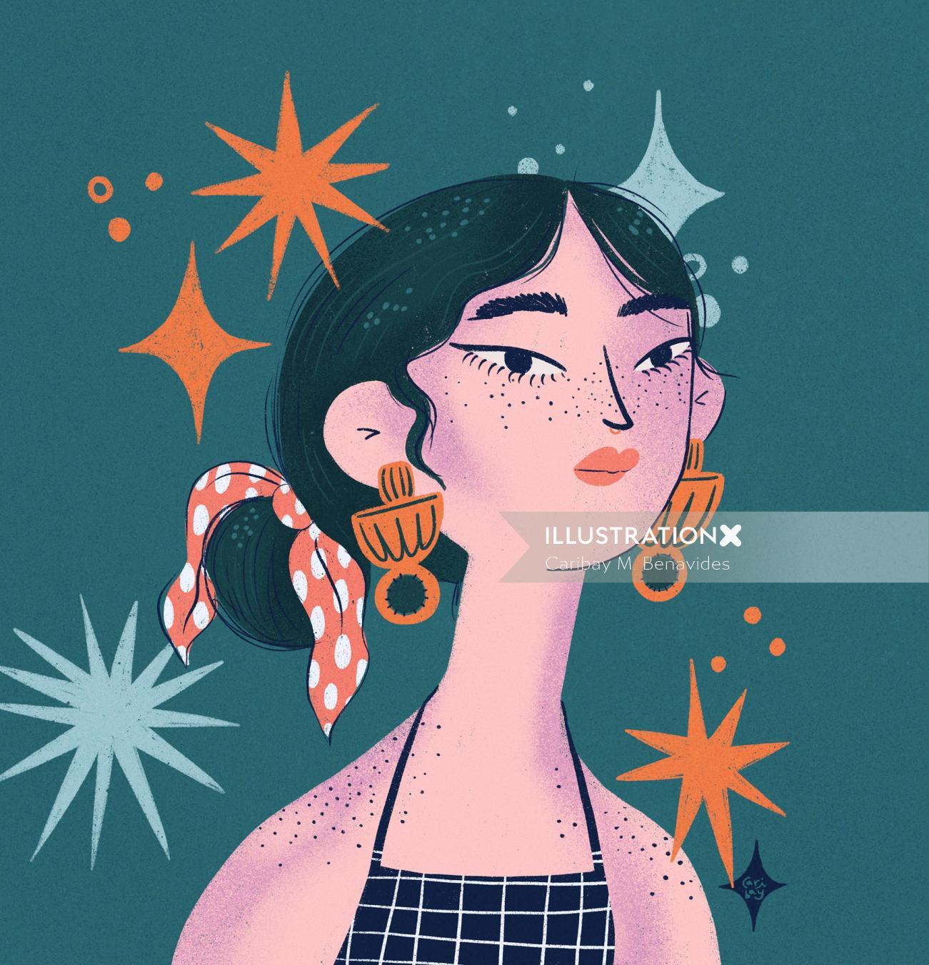 Digital illustration of Ella Brilla