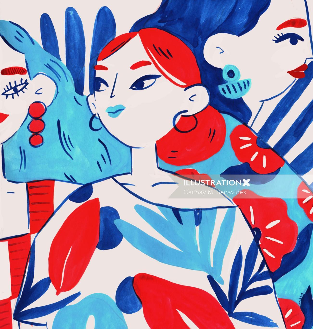 Floral fashion illustration by Caribay M. Benavides