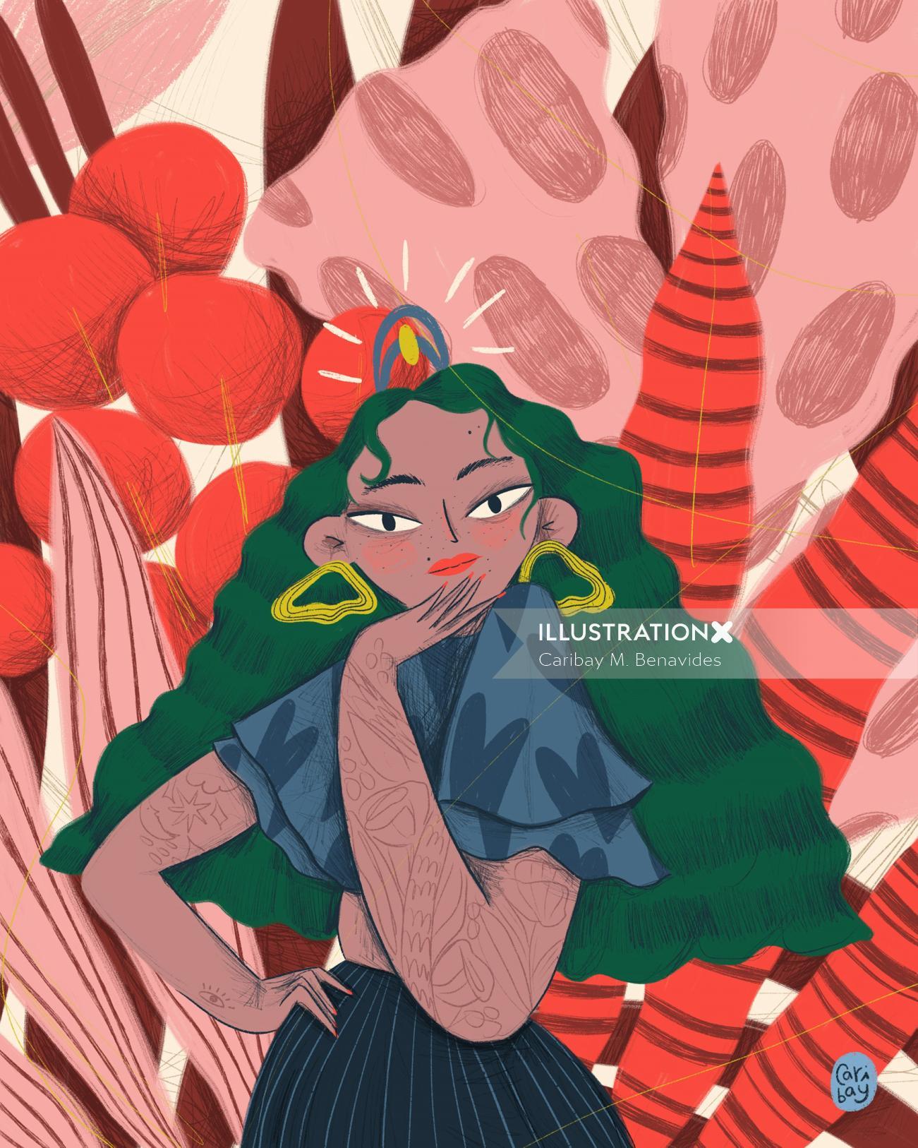 Digital painting of wild lady
