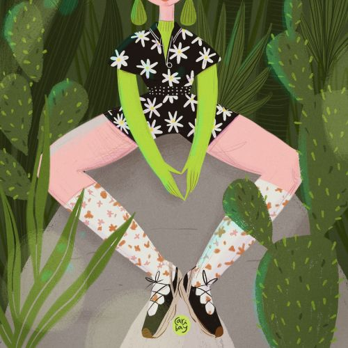 Editorial illustration of mulan bae for a Harper Bazar