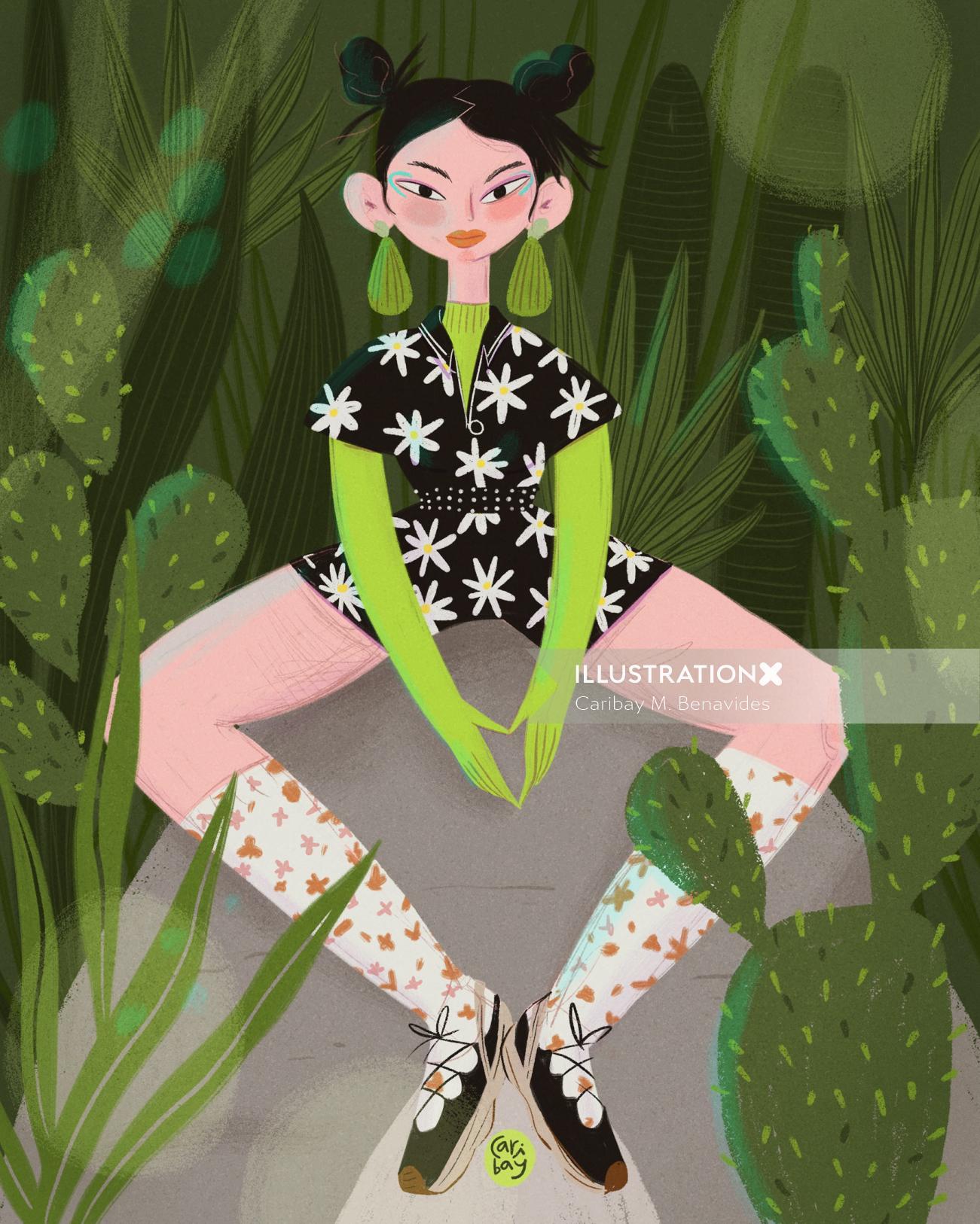 Editorial illustration of mulan bae for a Harper Bazar