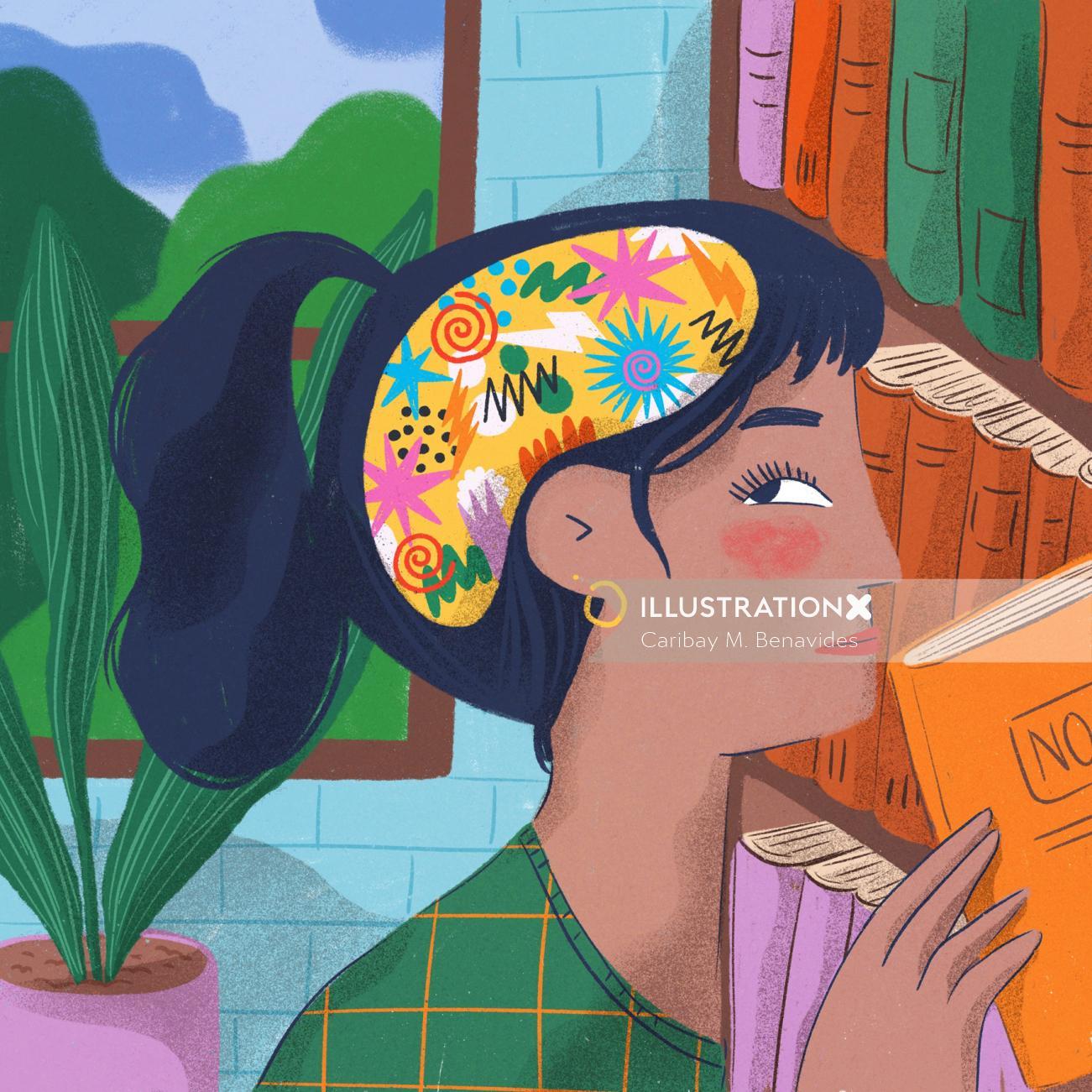 Editorial illustration of chorinc headache for Fleni