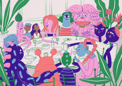 Editorial illustration of thanksgiving party for Oh Lala magazine