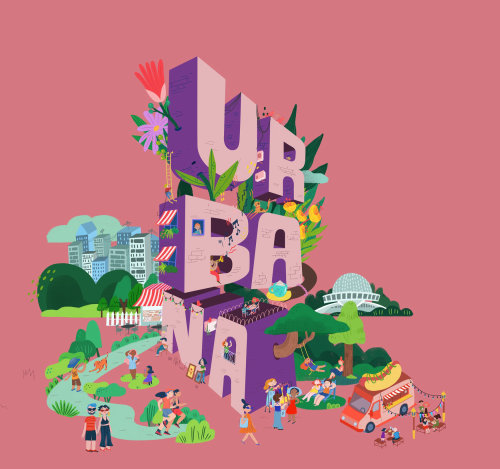 Blod lettering illustration of ur ba na