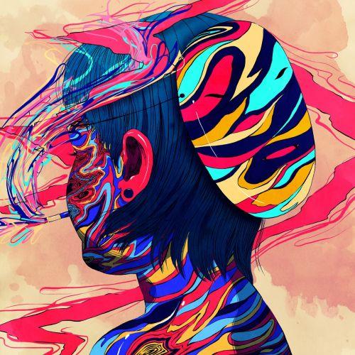 Digital colorful illustration of girl head