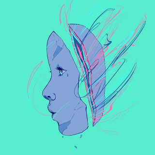 Girl face digital painting