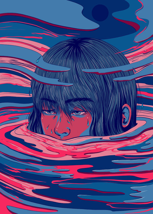 Crying girl face illustration by Carolina Rodriguez Fuenmayorfce