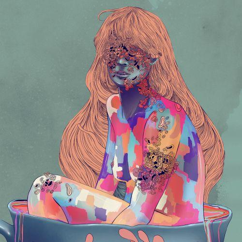 naked girl colorful illustration