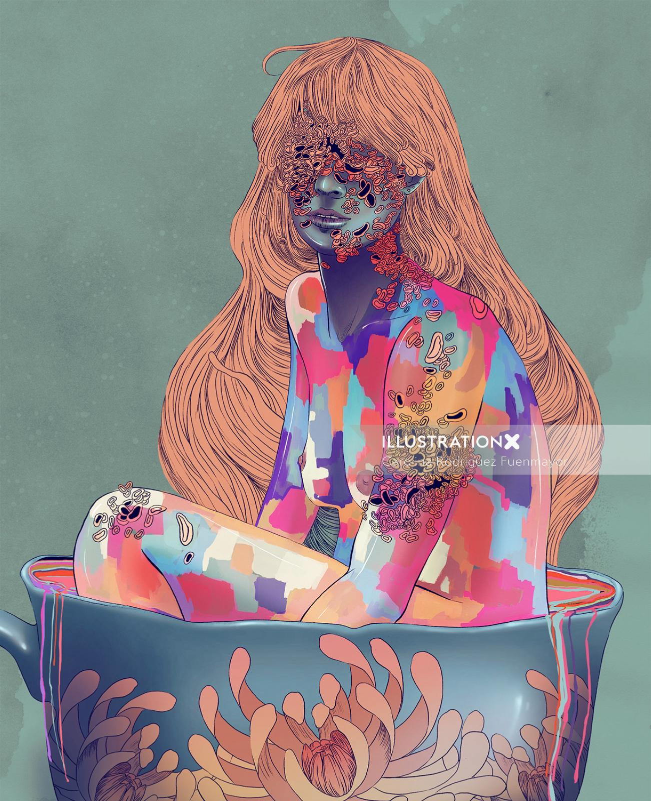 naked girl colorful illustration