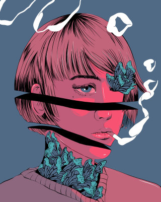 Digital illustration of smoking girl
