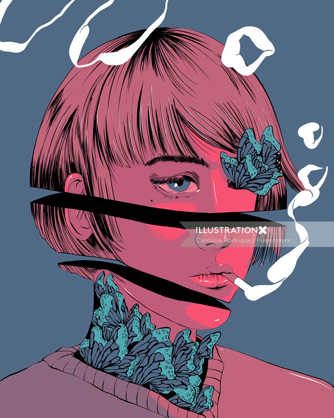 Digital illustration of smoking girl