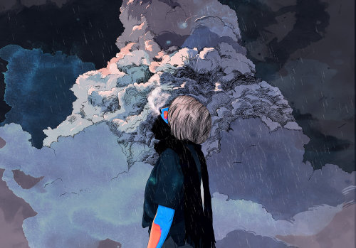 Girl and clouds surreal art