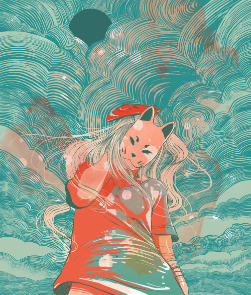 Lion face girl illustration