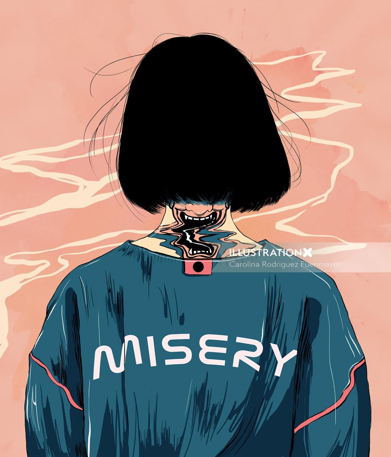 Misery girl illustration
