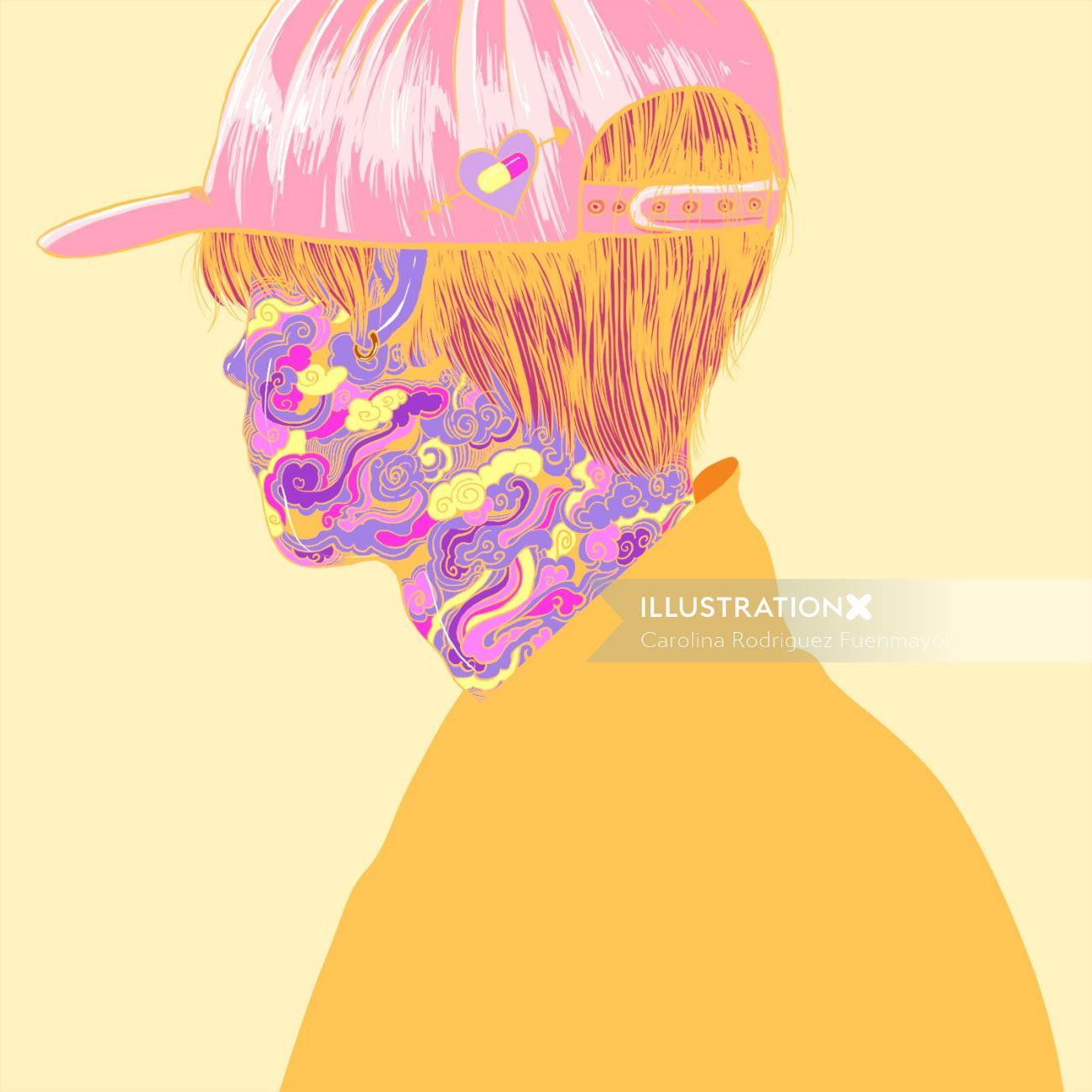 Girl wearing cap painting