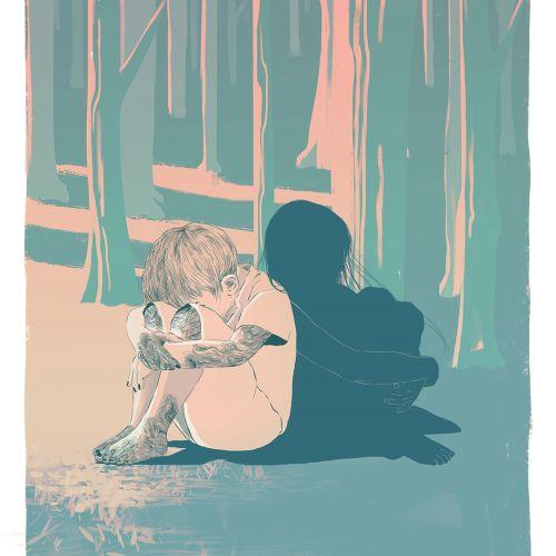 Illustration of lonely boy