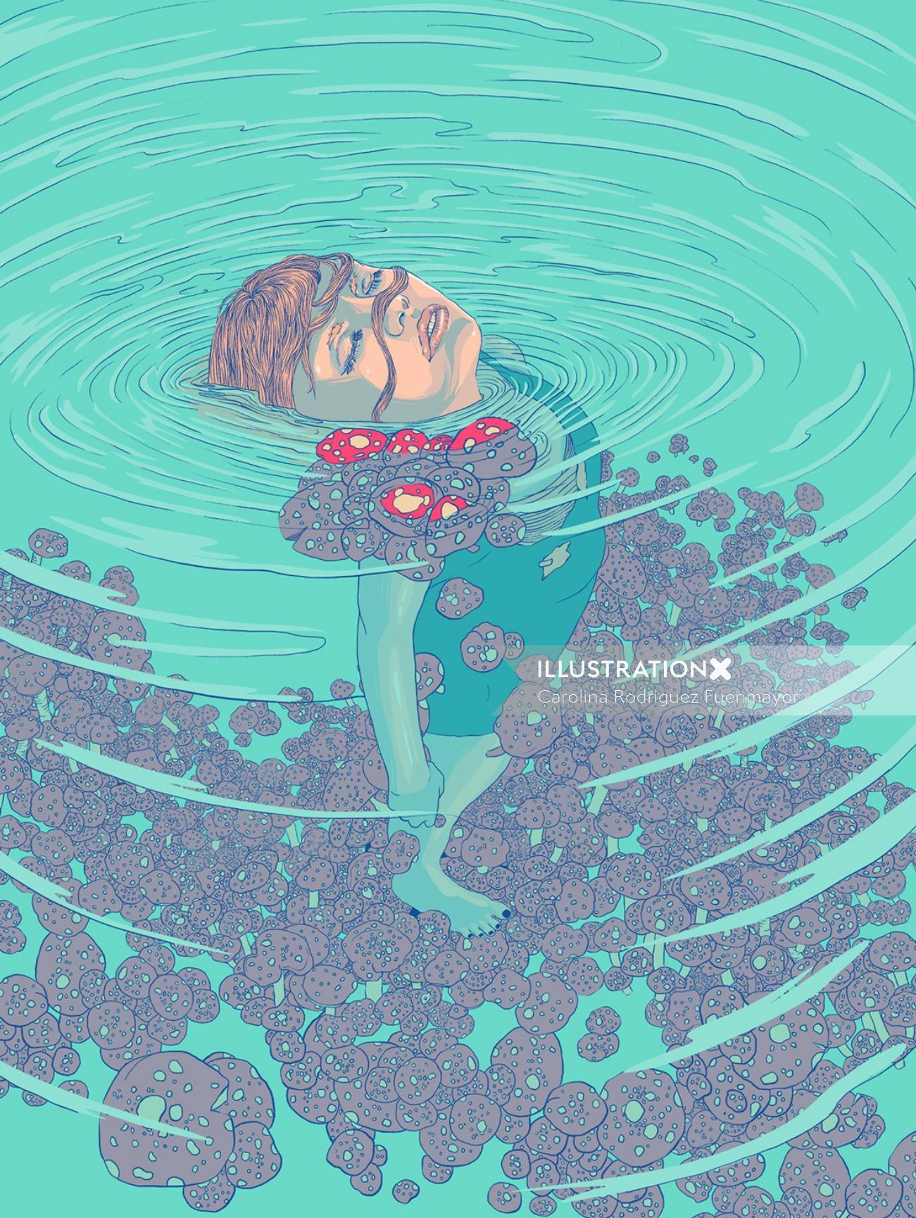 Drown girl lying on pool